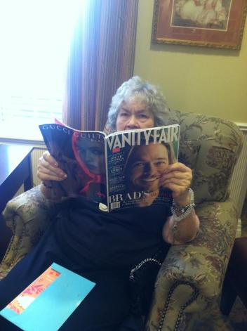 my mom reading Vanity Fair